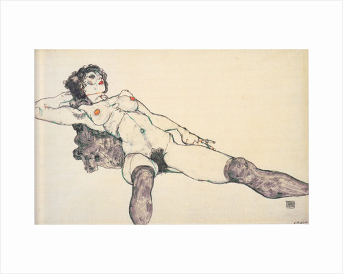 Reclined female nude with spreaded legs, 1914 by Egon Schiele