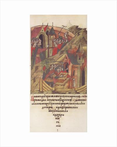 Novgorod veche. Novgorodians plunder the court of Posadnik. by Anonymous