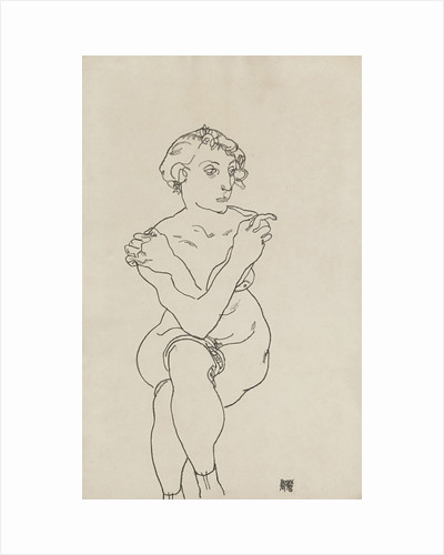 Seated female nude, arms and legs crossed, 1918 by Egon Schiele