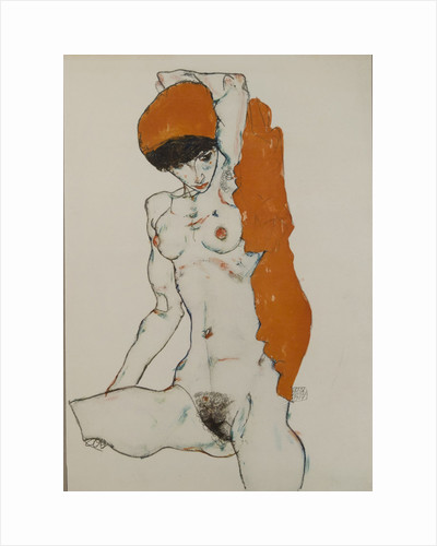 Female nude with orange-red cloth, 1914 by Egon Schiele