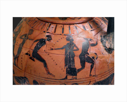The long jump event at the ancient Olympic Games, Attic black-figured cup, 540 BC by Anonymous