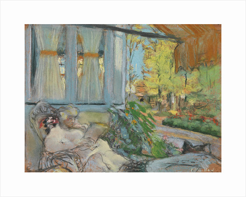 Madame Hessel reading on Cézannes enclosed terrace by Anonymous