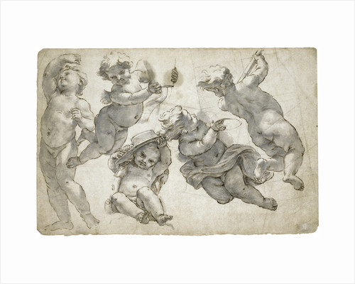 Five flying putti by Anonymous