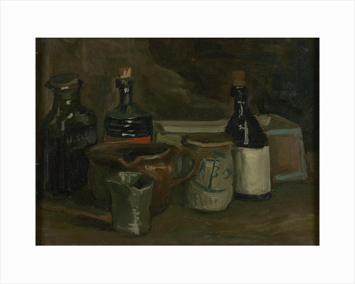 Still life with bottles and pottery by Anonymous