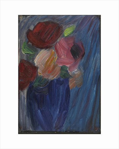 Large still life: Roses in an ultramarine blue vase by Anonymous