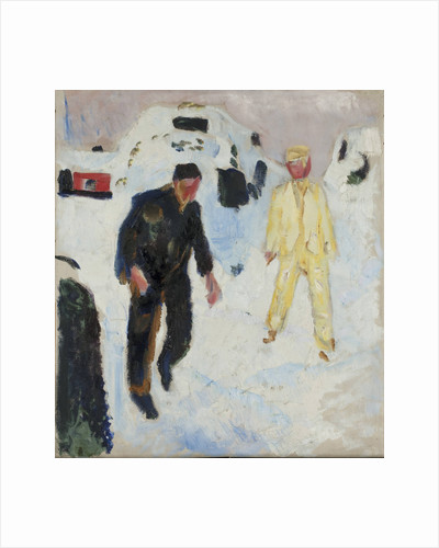 Black and Yellow Men in Snow, 1910-1912 by Anonymous
