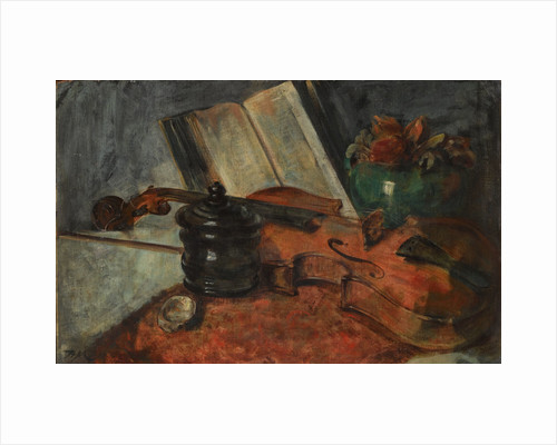 Still life with a violin, 1876 by Anonymous