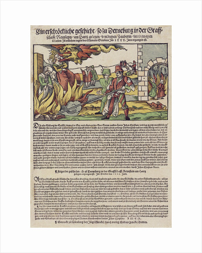 The Derenburg witch trial. Popular print, 1555 by Anonymous