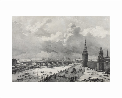 View of the Moscow Kremlin and the Kamenny Bridge (Greater Stone Bridge), 1825 by Anonymous