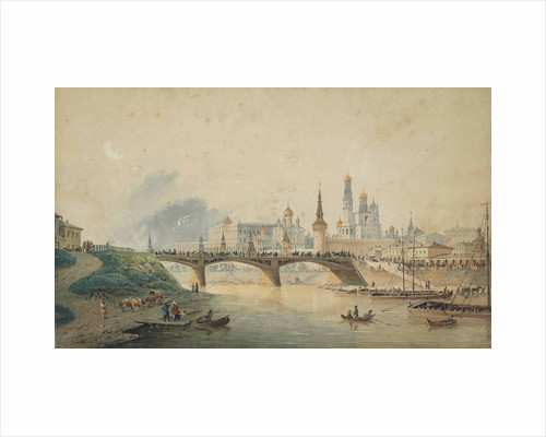 View of the Kremlin and Moskvoretsky bridge from the Moskva River embankment, 1870 by Anonymous