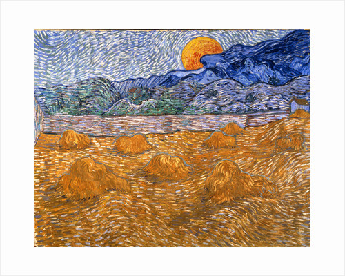 Landscape with wheat sheaves and rising moon, 1889 by Anonymous