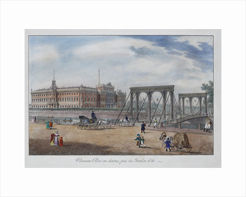 View of the Chain Panteleimonovsky Bridge near the Summer Garden in Saint Petersburg, 1825 by Anonymous
