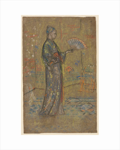 Japanese Woman Painting a Fan; Standing Woman Holding Up Her Dress, c. 1872 by James McNeill Whistler
