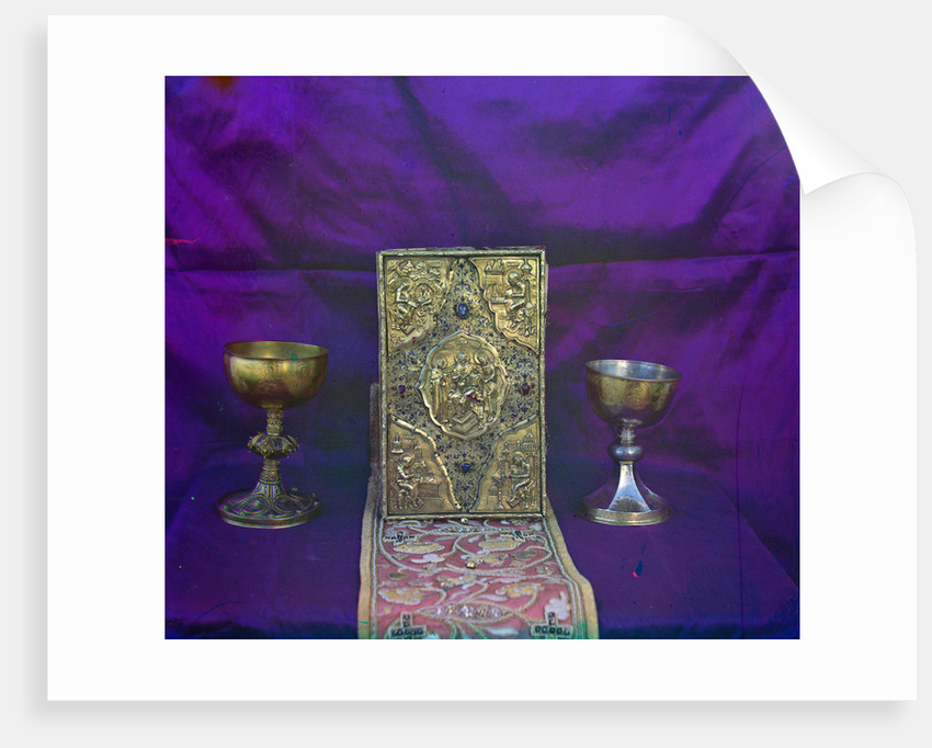 Gospel of Tsar Alexei Mikhailovich and the sacramental vessels of of Tsar Mikhail Feodorovich, 1911 by Anonymous
