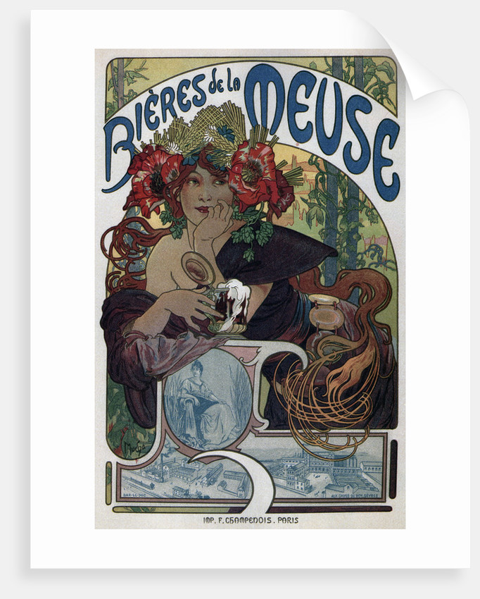 Poster for the Bieres de la Meuse by Alfons Marie Mucha