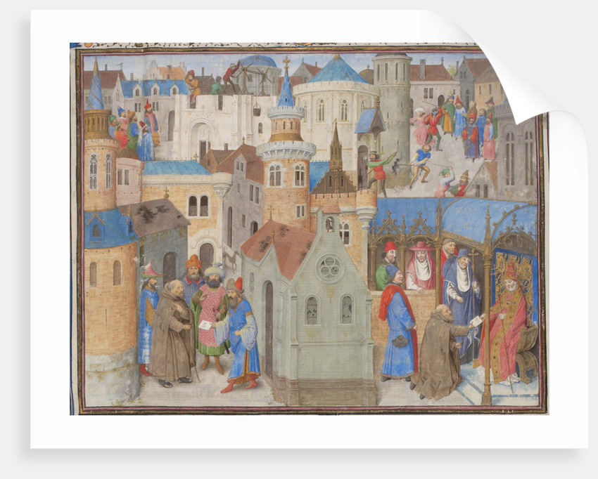 Peter the Hermit hears Pope Urban II at the Council of Clermont. Miniature from the Historia by William of Tyre, 1460s by Anonymous