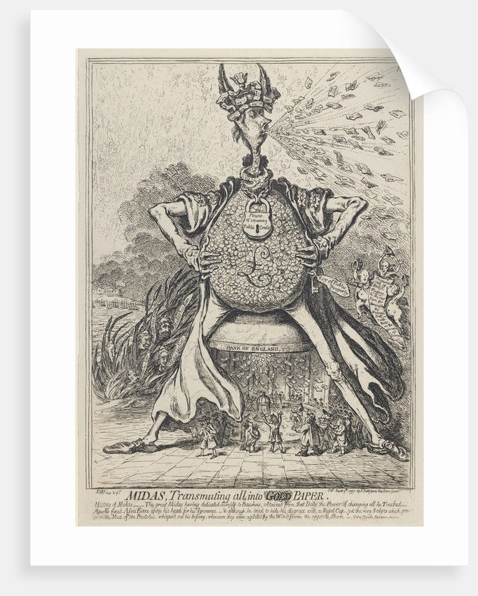 Midas, Transmuting all into Gold Paper, 1797 by James Gillray