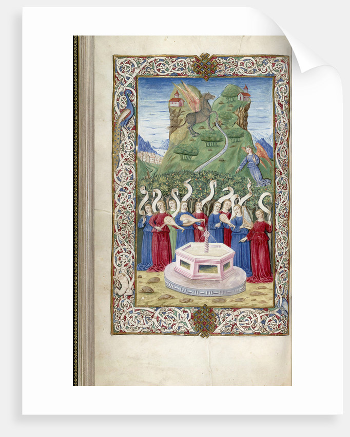 The nine Muses with Pegasus and Mount Helicon (From Argumentum by Guarinus Veronensis), 1485-1499 by Anonymous