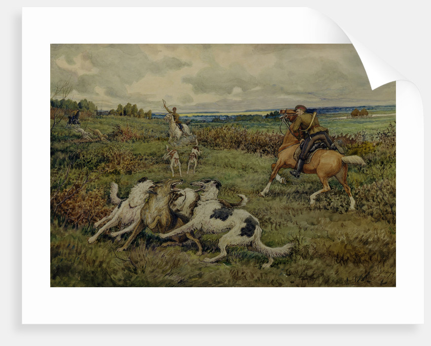 Hunting with Borzois, 1937 by Ernest Ernestovich Lissner