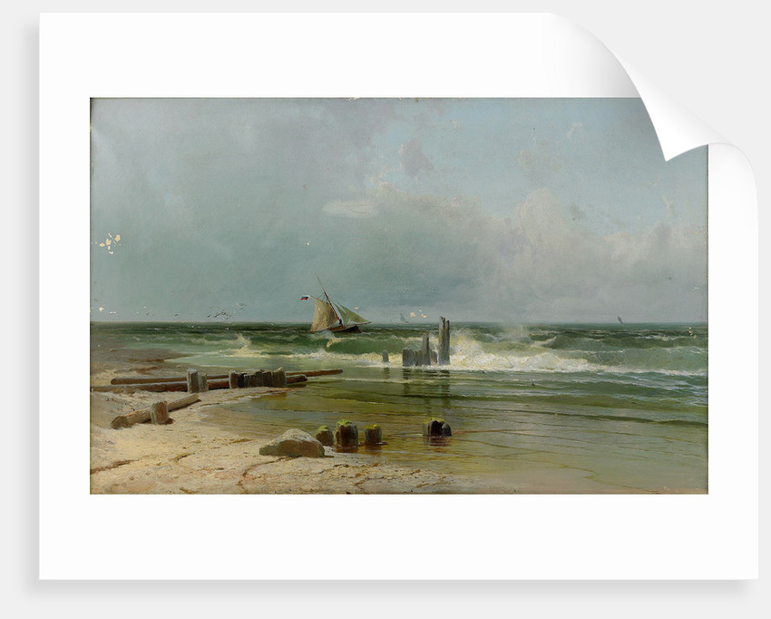 A Sailing boat by the beach, 1891 by Arseni Ivanovich Meshchersky