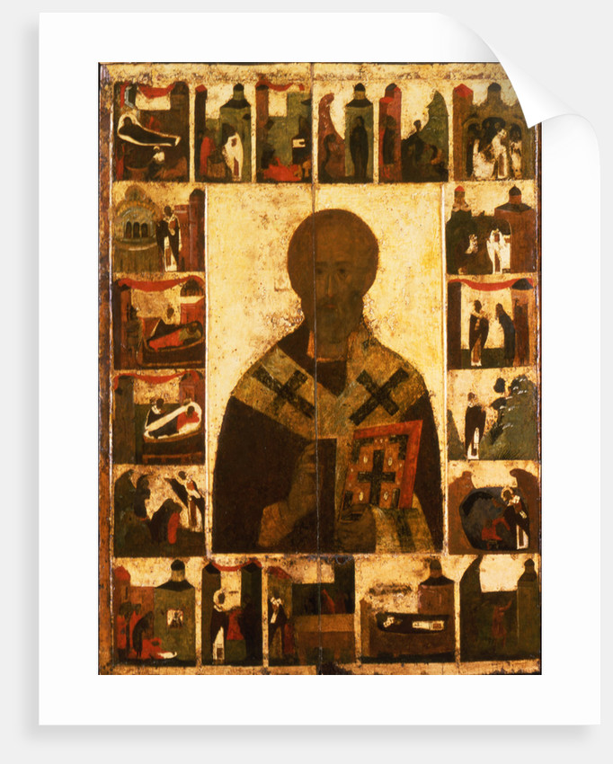 Saint Nicholas with scenes from his life, 14th century by Russian icon