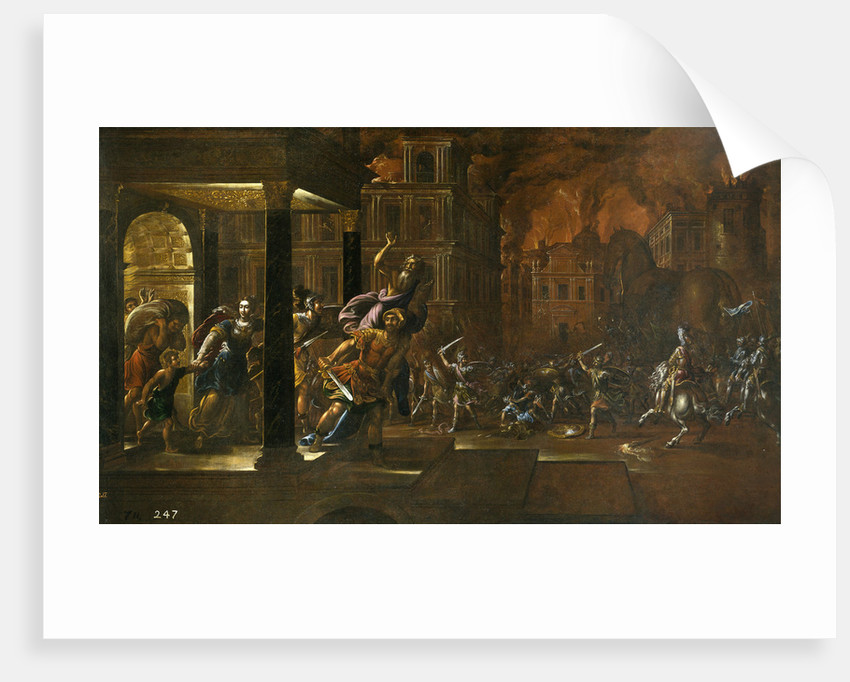 The Fire of Troy, Mid of 17th cen by Juan de la Corte