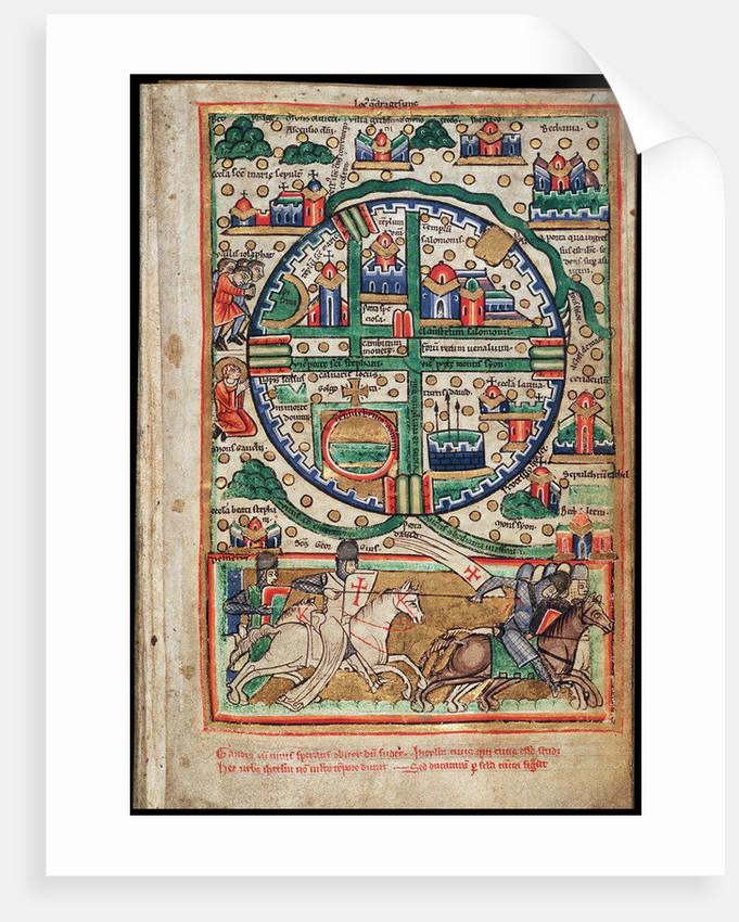 Plan of Jerusalem. Psalter fragment by Anonymous