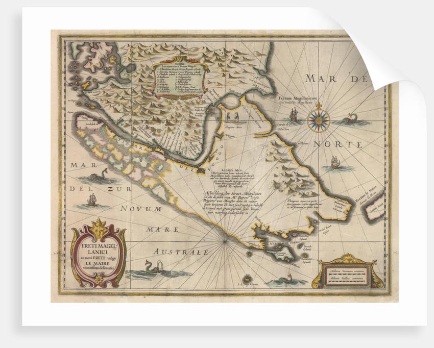 Freti Magellanici ac novi freti vulgo Le Maire exactissima delineatio, c.1630 by Jodocus Hondius