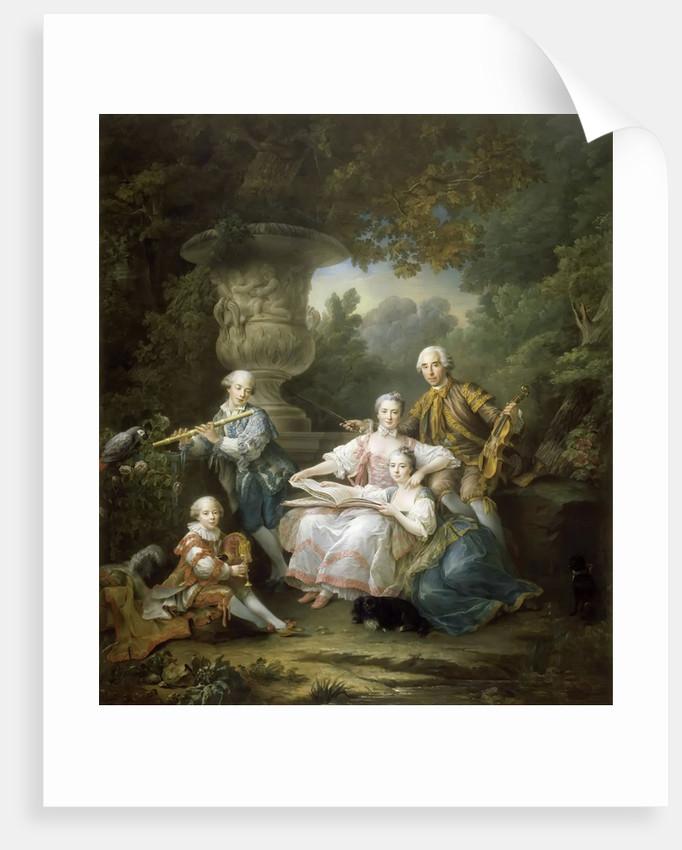 Louis II du Bouchet de Sourches with his Family by François-Hubert Drouais