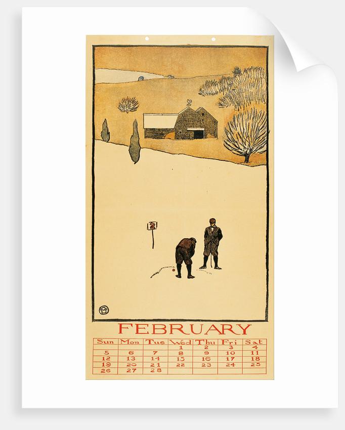 Golf Calendar. February by Edward Penfield