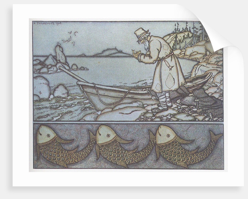 Illustration to the The Tale of the Fisherman and the Fish by Ivan Yakovlevich Bilibin