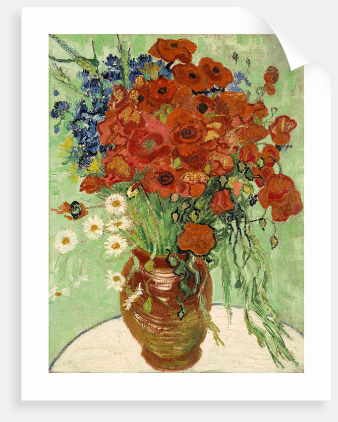 Art Print Painting Poster Still Life Daises and Poppies Vincent Van Gogh