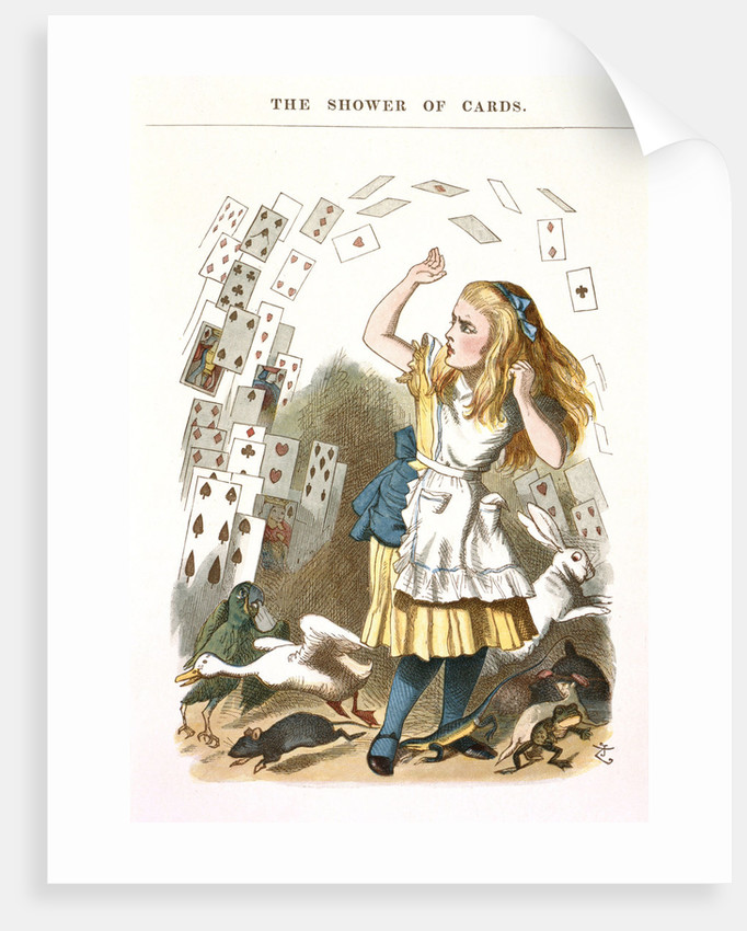 The Shower of Cards. Illustration for Alice in Wonderland by L. Carroll, 1890 by Sir John Tenniel