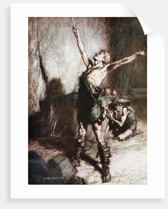 Siegfried forges his sword. Illustration for Siegfried and The Twilight of the Gods by Richard Wag by Arthur Rackham