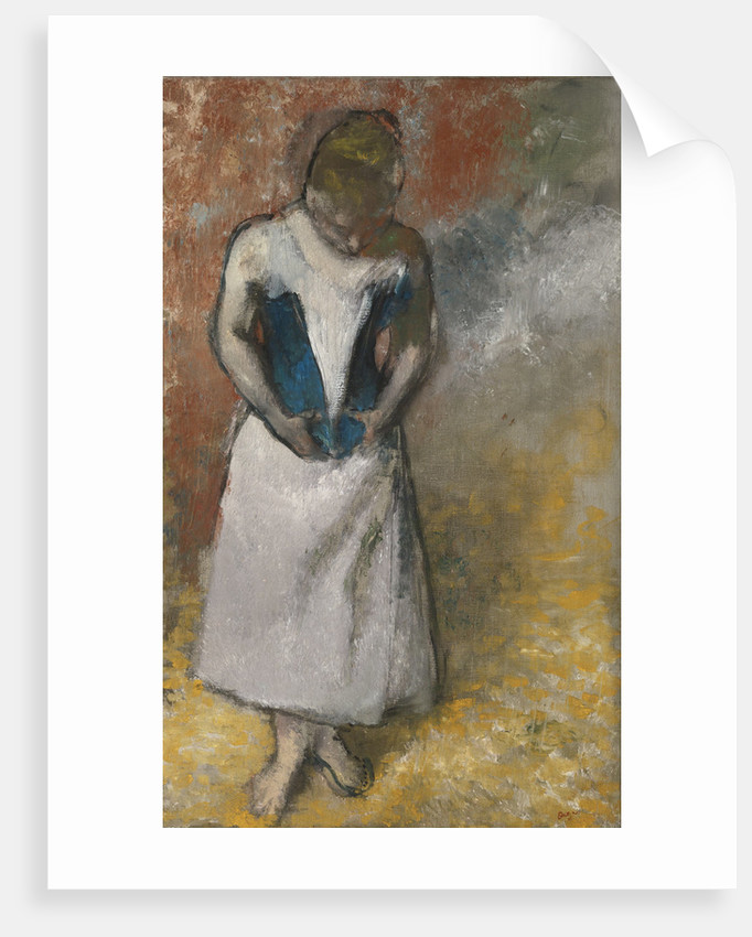Woman standing from the front, clasping her corset, ca. 1883 by Edgar Degas