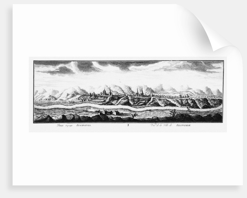 View of Krasnoyarsk, ca 1735 by Johann Wilhelm Lürsenius