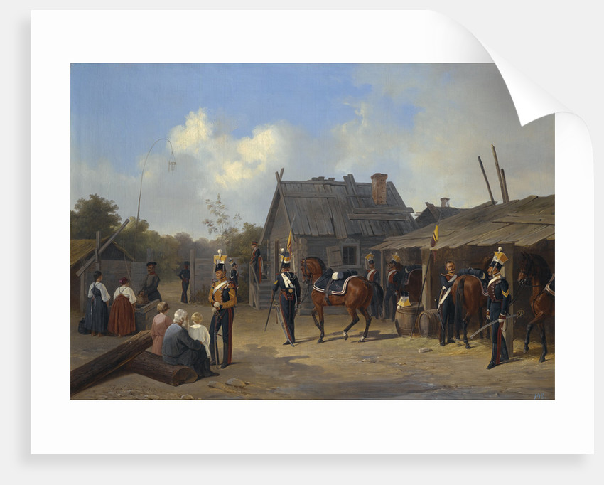 Soldiers bivouacking in a village, 1843 by Anonymous