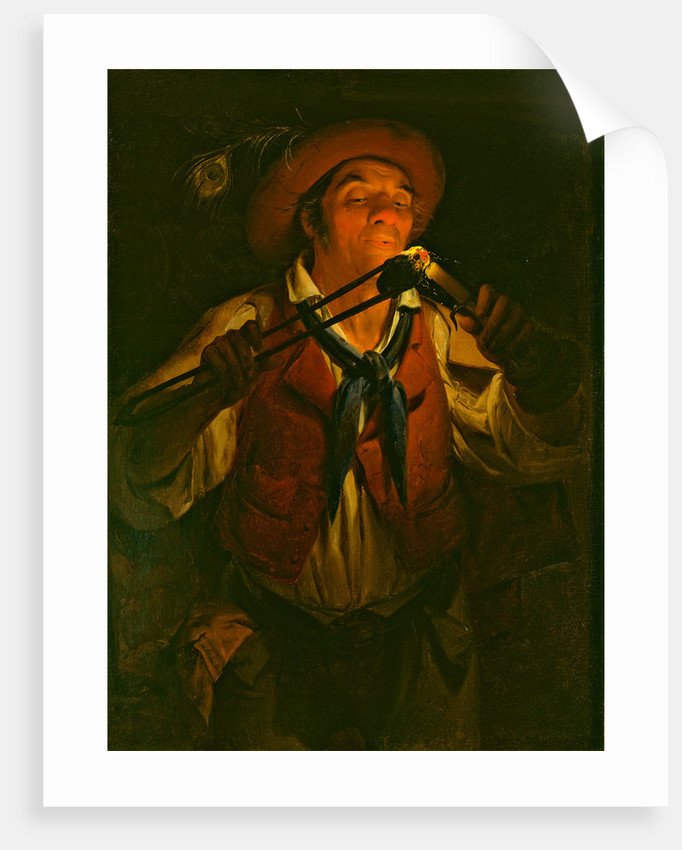 Farmer Lighting a Candle with a Burning Stick by Anonymous