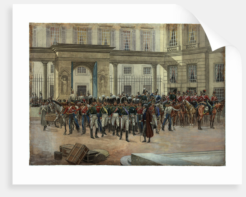 Emperor Alexander I in the courtyard of the Talleyrands house in Paris by Anonymous