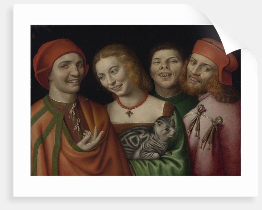 Three men with a woman holding a cat by Anonymous