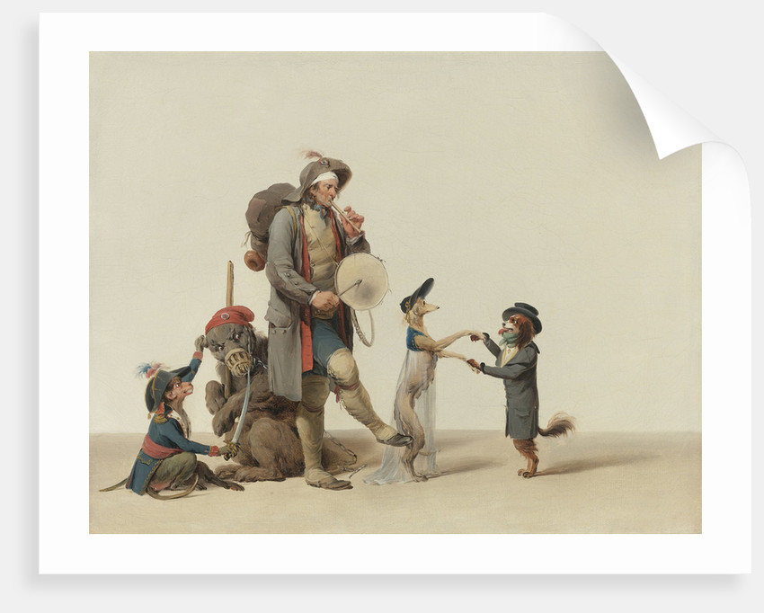 An Animal Trainer With Dancing Dogs, a Bear And Monkey by Anonymous