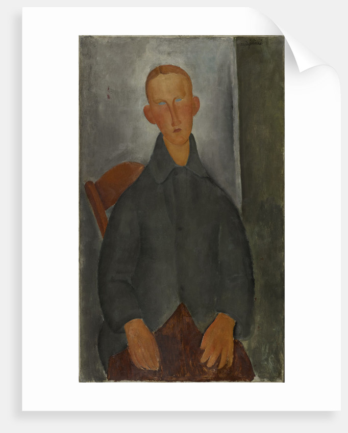 Seated boy with red hair and grey jacket by Anonymous