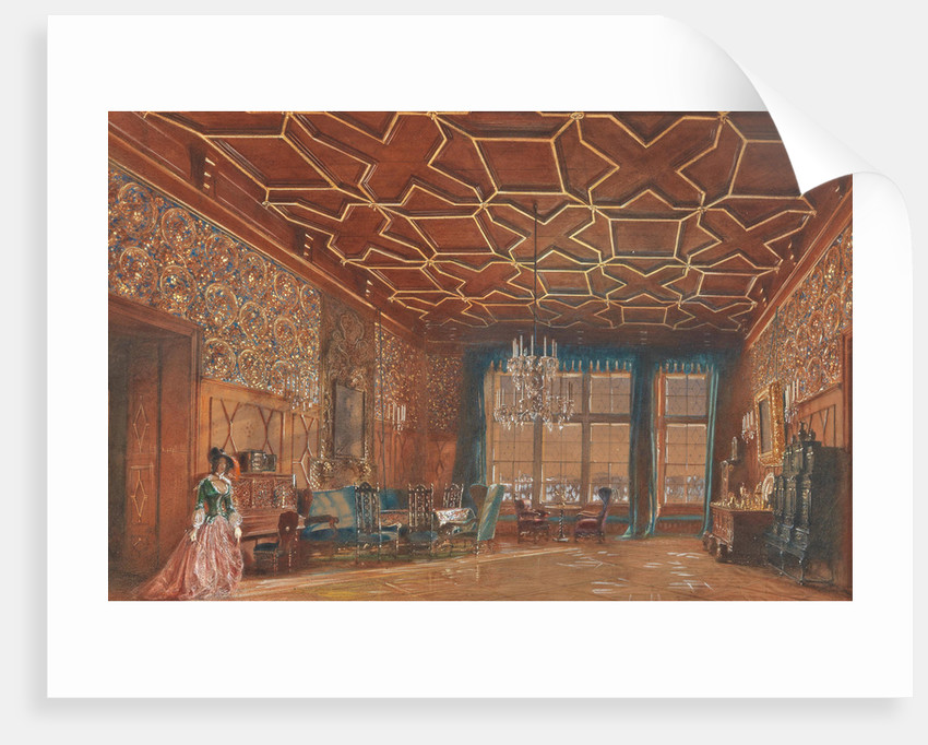 Interior in the castle Rosenberg of the Counts Buquoy-Longueval in South Bohemia, 1856 by Anonymous