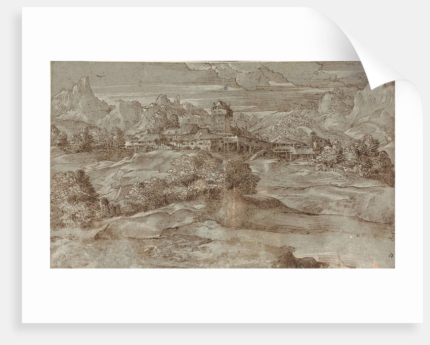 Mountain landscape with a village and a castle by Anonymous