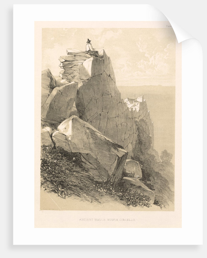 Illustrated Excursion in Italy: Ancient Walls, Monte Circello, 1846 by Edward Lear