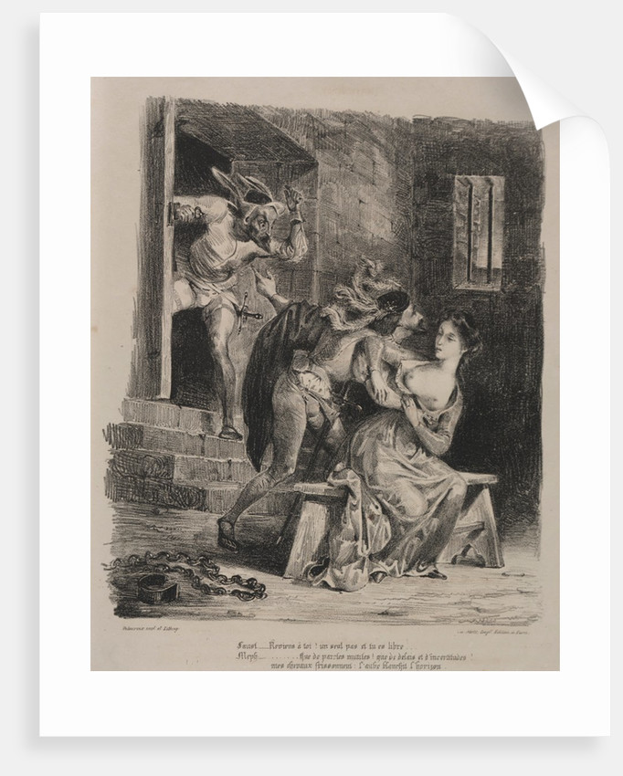 Illustrations for Faust: Faust in the prison of Marguerite, 1828 by Eugène Delacroi