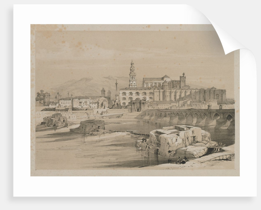Picturesque Sketches in Spain: Remains of a Roman Bridge on the Guadalquiver, Cordova, 1837 by Thomas Shotter Boys