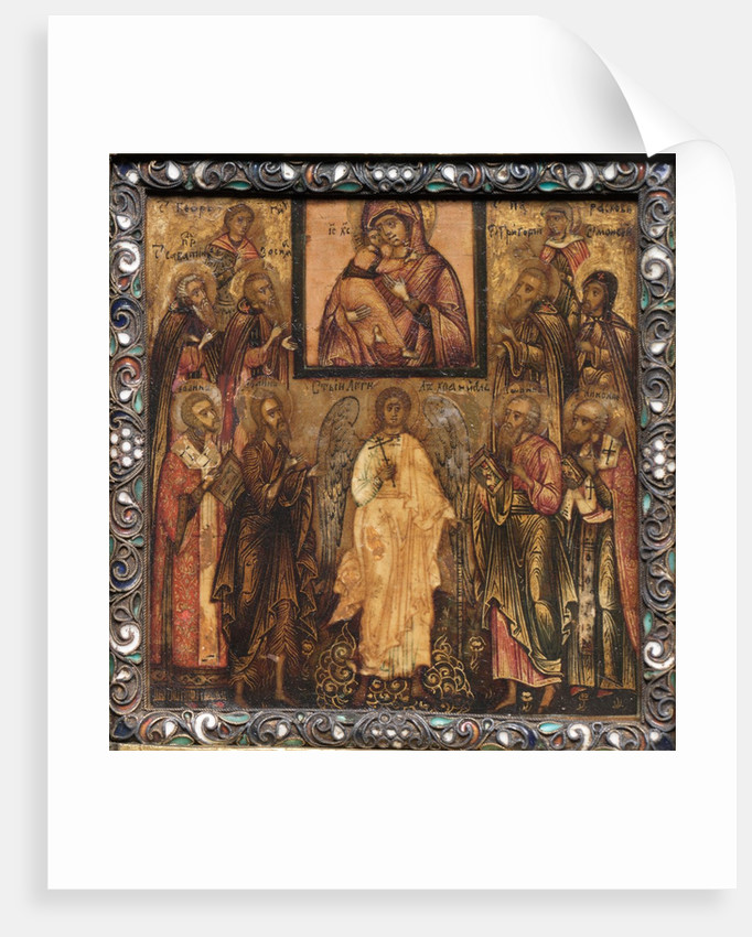 Portable Triptych Icon: Adoration of the Miracle-Working Icon of the Vladimir Mother of God,1600s by Unknown