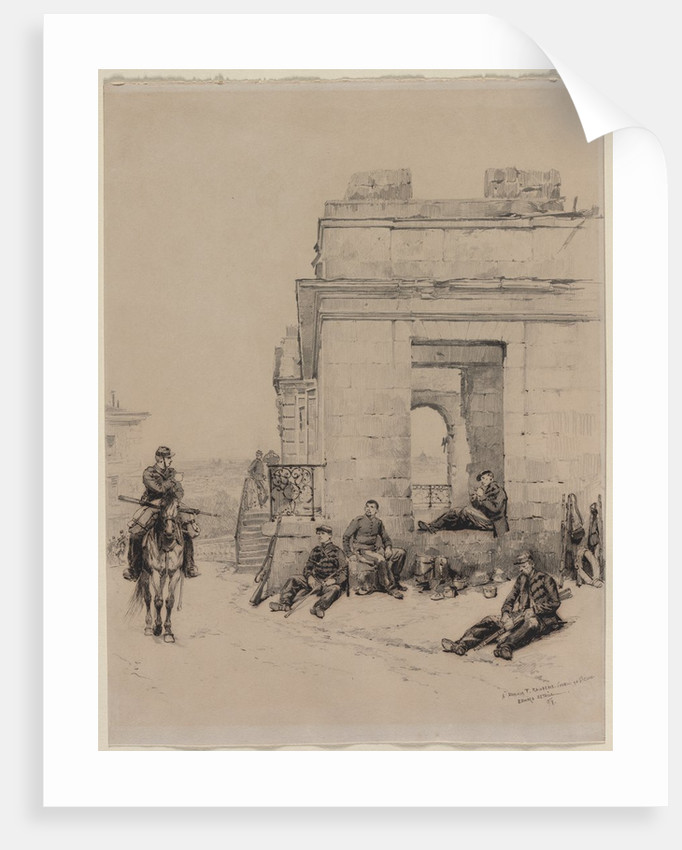 Soldiers Resting Sketch of a Man with Upraised Arm and Sketch of a Helmet, 1878 by Édouard Detaille