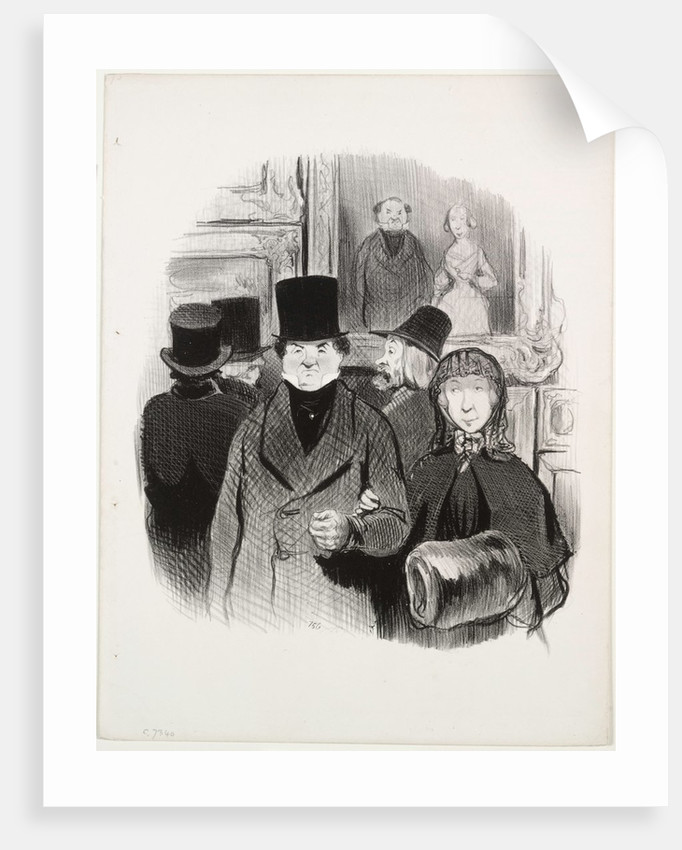 The Beautiful Days of Life, plate 59: When one's portrait is at the Salon, 1845 by Honoré Daumier